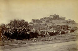 Distant view of the temple on Parbati Hill, Poona [Pune].